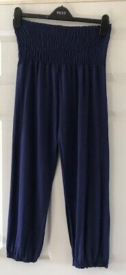 Ladies/girls ~ Navy Blue Strapless Ruched Elasticated Harem Playsuit ~ Small • 2.70£
