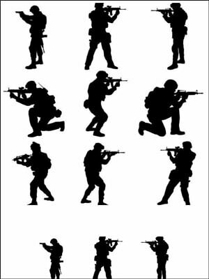 £4.99 • Buy Army Fighting Men Silhouettes Edible Printed Cake Topper Kit Wafer Or Icing