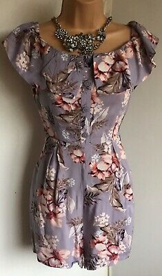 New Look Lilac Floral Bandeau On/off Shoulder Playsuit With Pockets Size 10 • 1.99£