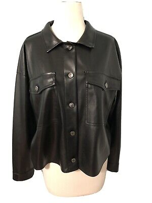 $9.99 • Buy Zara Faux Leather Button Up Shirt Over Shirt Size Small S