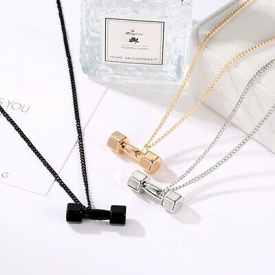 $2.99 • Buy Fashion Fitness Dumbbell Necklace Men And Women Personality Domineering Pendant