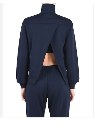 AU212.62 • Buy Y-3 By Yohji Yamamoto Women's High Neck Matte Track Jacket Dark Blue Size L