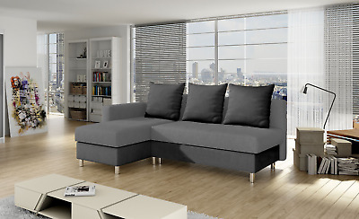 Brand New Fabric Corner Sofa Bed Grey Brown Right Left Handed Bedding Storage  • 399£