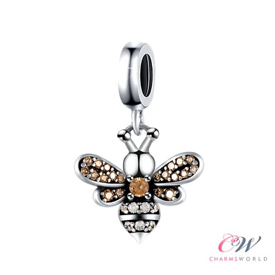 £13.94 • Buy Silver Queen Bee Charm Genuine 925 Sterling Silver Rose Gold Crystals 🐝