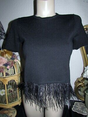 $15 • Buy Zara Knit Black Sparkle Crop Top With Feather Fringe Size Small