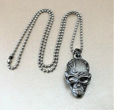 Skull Pendant Necklace Goth Punk Style 22 Inches Long Dog Tag Necklace • 3£