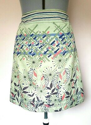 WHITE STUFF Size 16 Mint Green Floral A-Line Fully Lined Cotton Boho Skirt.VGC • 1.10£