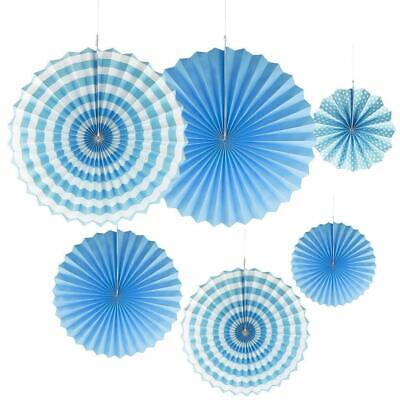 £4.21 • Buy 6x Paper Fan Flowers Wedding Baby Birthday Party Tissue Paper Table Decor Blue