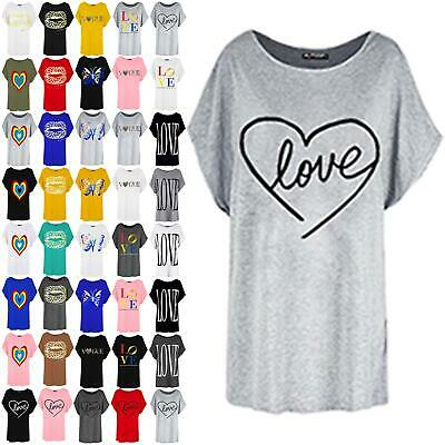 Womens Ladies Heart Love Valentines Oversized Batwing Sleeve Baggy T-Shirt Top • 4.49£