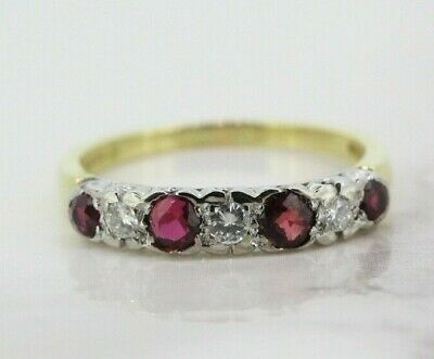 £266 • Buy 18ct Yellow Gold Ruby And Diamond Eternity Ring (Size O, US 7)