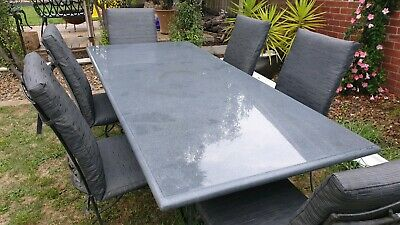 AU300 • Buy Outdoor Dining Setting. High Quality Stone. Eight Seats.