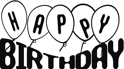 Birthday - Text - Happy Birthday - Balloons Unmounted Clear Stamp Approx 60x49mm • 3.99£