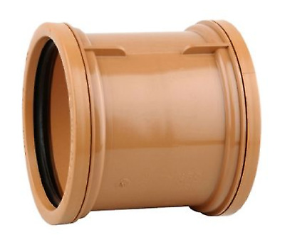 Drain Polypipe Double Socket Pipe Coupler 110mm Straight Connector Coupling 4  • 1.99£
