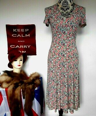 Vintage Retro 1940`s Wartime Style Ditsy Print Tea / Day Dress Size 8 BRORA • 15.99£