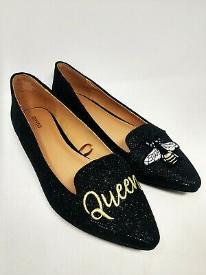 $29.88 • Buy EXPRESS QUEEN BEE FLATS Black Pointed Toe Glitter Sequins Shoes Loafer Novelty 9