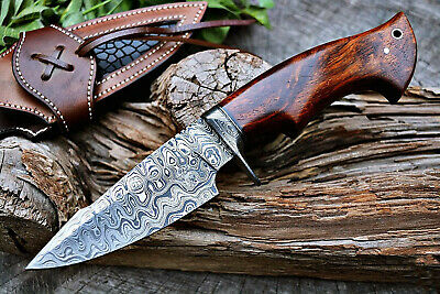 $85.99 • Buy Handmade Hunting Knife Bowie Damascus Steel Survival Knife EDC 10'' With Sheath