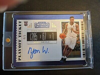 $406.53 • Buy ZION WILLIAMSON 2019 Panini COLLEGE TICKET ON-CARD SSP RC AUTO SERIAL #4/5