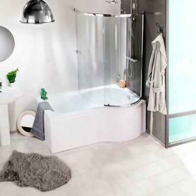 P Shape Shaped Shower Bath Tub 1500 1700mm With Screen & Front Panel Left Right • 359£