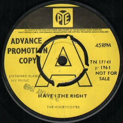 HONEYCOMBS Have I The Right 7  VINYL UK Pye 1969 Promo B/w Please Don't Pretend • 39.90£