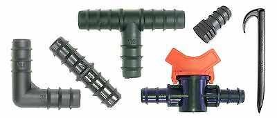 UK Drip Garden Irrigation Pipe Fittings Tee Elbows Valves T 16mm Barb Hozelock • 0.99£