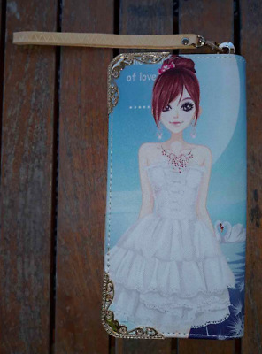 $9.99 • Buy Anime Girl Long Wallet Clutch Small Purse Red Head/White Dress NWOT Zip Around