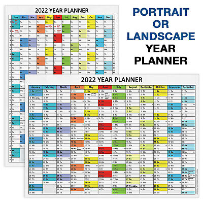 £2.99 • Buy 2022 YEAR PLANNER Jan - Dec WALL PLANNER Event Planner A4 A3 A2 A1 A0