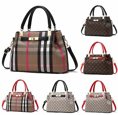 AU42.99 • Buy Women Ladies Designer Checkered Tote Bag Leather Style Quality Shoulder Handbag