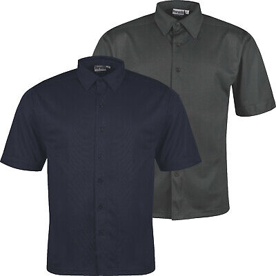 £7.99 • Buy New Mens Short Sleeve Shirt Button Up Breathable Business Work Formal Plain Top