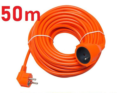 50m Meters EU European Mains Power Socket Extension Lead ORANGE 16A 3x1.5mm • 29.99£