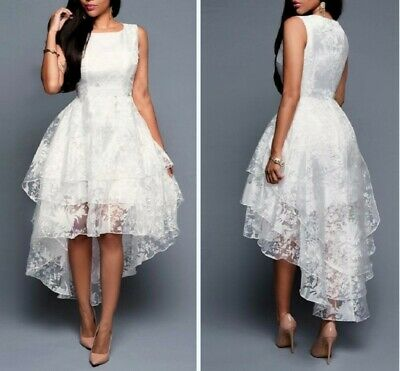 Women Lace High-low Evening Ball Gown Formal Dress Wedding Bridesmaid Prom Party • 25.10£