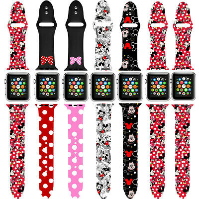 $ CDN12.52 • Buy Mickey Mouse Soft Silicone Apple Watch Series 5 4 3 2 1 Band Watch 38 42 40 44mm