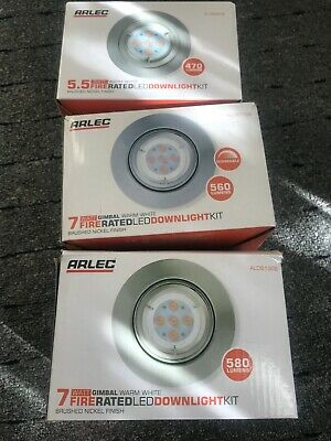 £19.99 • Buy Arlec 2 X 7W + 1 X 5.5W Fire Rated LED Downlight Kit Brushed Nickel Finish