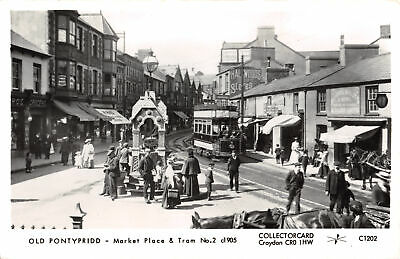 R335213 Old Pontypridd. Market Place And Tram No. 2 C1905. Collectorcard. C1202. • 6.75£