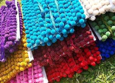 3 M Latest Coloured Rainbow Pom Pom Bobble Fringe Pompom Trim Lace Craft Ribbon • 6£