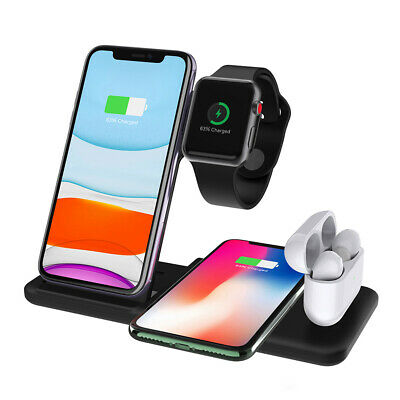 AU30.99 • Buy 15W Qi Wireless Charger Dock Stand 4in1 For Apple Watch 5/4/3/2/1 IPhone 11 XS X