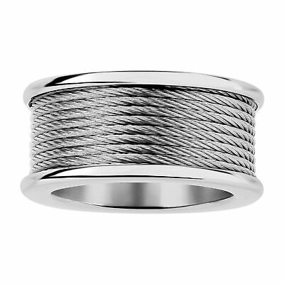 $23.50 • Buy Men's Twisted Cable Chain Inlay Ring In Stainless Steel