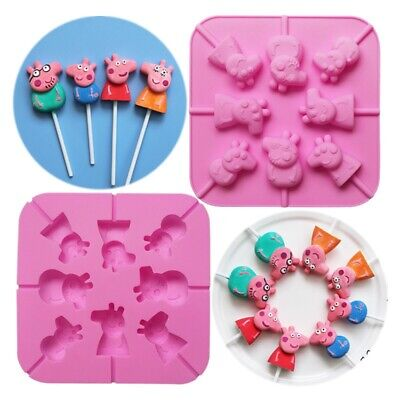 £6.62 • Buy Silicone Lollipop Sticks Peppa Pig Candy Chocolate Fondant Mould DIY Clay Resin