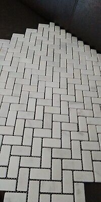 CALACATTA TUMBLED WHITE MARBLE HERRINGBONE Mosaic Wall&Floor Tiles SAMPLE  • 8.49£