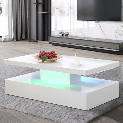 $1199.99 • Buy LED Coffee Table With Light Effects RC High Gloss Living Room Furniture White