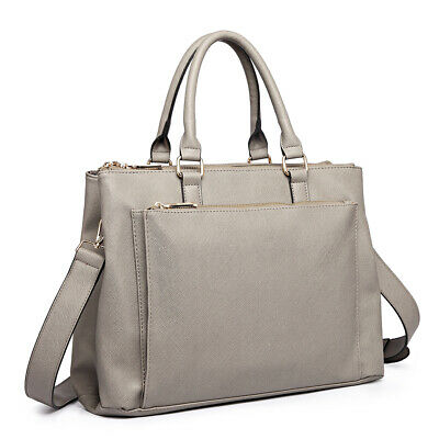 Women Designer PU Leather Briefcase Handbag Tote Shoulder Laptop Large Bag • 12.99£
