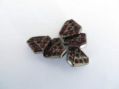 5 Pewter Tone Triangular Buttons With Red Stones Shank Fastening 12mm • 2.99£