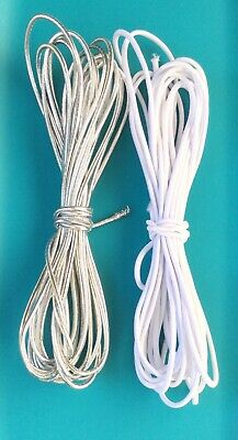 $ CDN9.38 • Buy 2mm Beading Silver And White Round Elastic Stretchy Cord 10 Yards