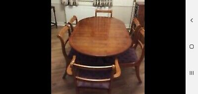 Yew Wood Extending Dining Table And 6 Chairs  & Heat Protective Cover • 80£
