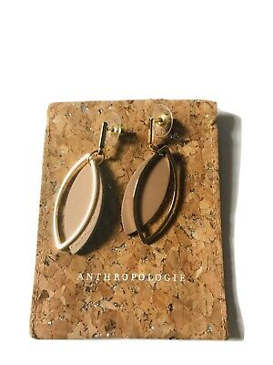 $ CDN28.42 • Buy Anthropologie Drop Earrings Gold With Tan  EUC