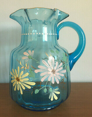 $40 • Buy Antique Victorian Glass Water Pitcher Turquoise Blue Ruffle Edge Enameled Flower