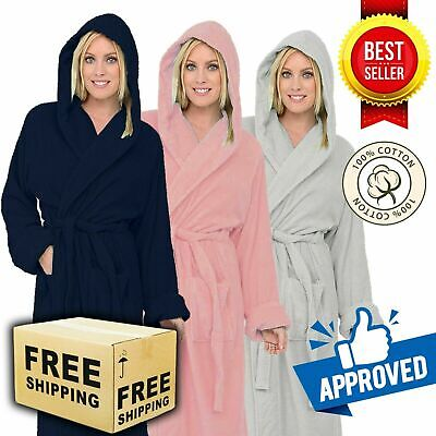 £17.99 • Buy Luxury Egyptian Cotton Hooded Bath Robe Unisex Dressing Spa Gown Terry Towelling