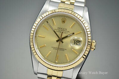 $ CDN6969.75 • Buy Mens Rolex Datejust 36MM 18K Yellow Gold & Steel Champagne Dial 16233 L Serial
