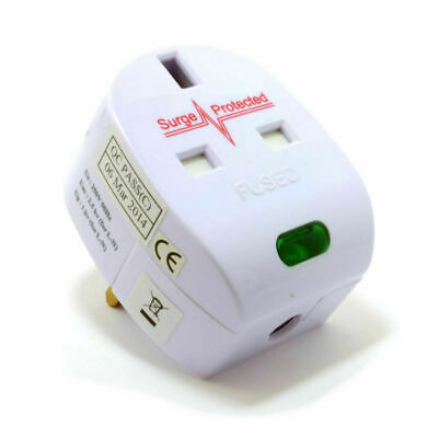 Surge Protected Fused 13A UK Rewireable Plug With Surged Pass Through Socket • 8.72£