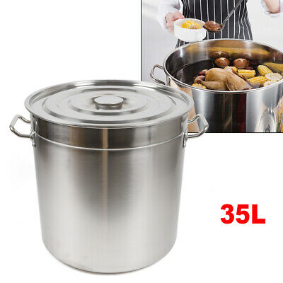 £63.09 • Buy 35L Large Deep Stainless Steel 201 Cooking Stock Pot With Lid - CATERING