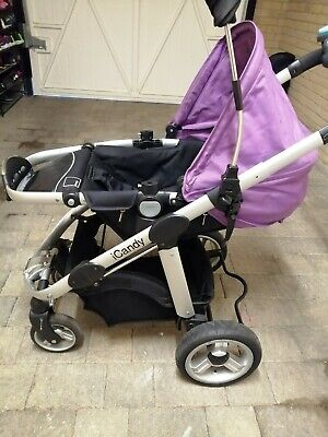 ICandy Apple Travel System In Plum (Pushchair, Travelcot, Foot Muff, Rain Cover) • 300£